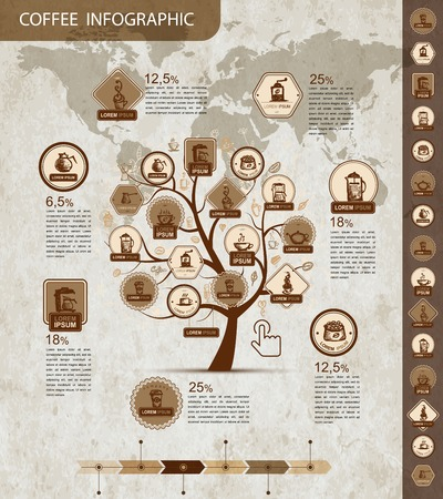 coffee tree: Coffee tree infographic for your design. Vector illustration