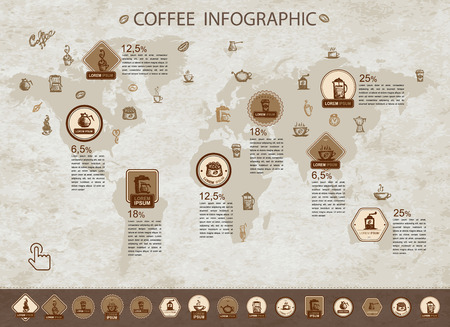 coffee beans background: Coffee infographic for your design. Vector illustration