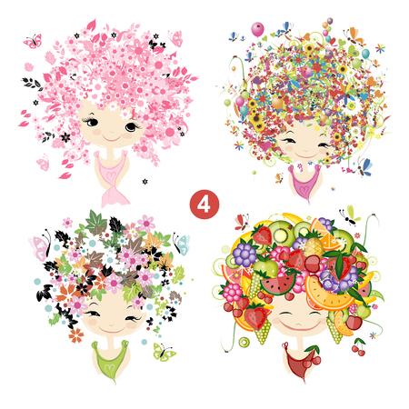celebration background: Floral girls. Seasons concept for your design. Vector illustration