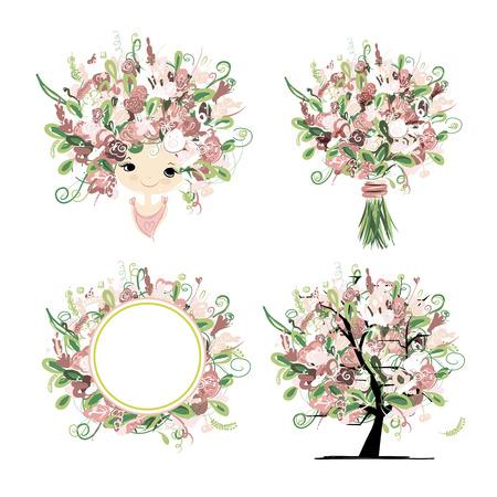 smiling faces: Wedding floral set for your design. Vector illustration