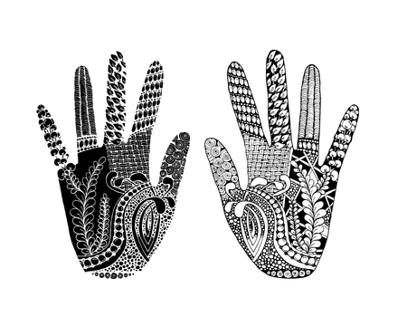 palmistry: Floral palm, hand drawn zentangle style for our design. Vector illustration