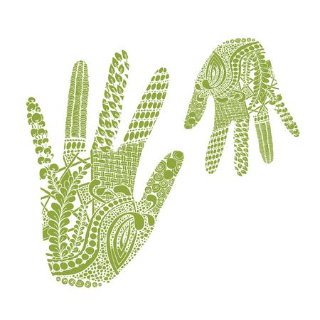 palm Floral, tiré par la main de style zentangle pour notre conception. Vector illustration