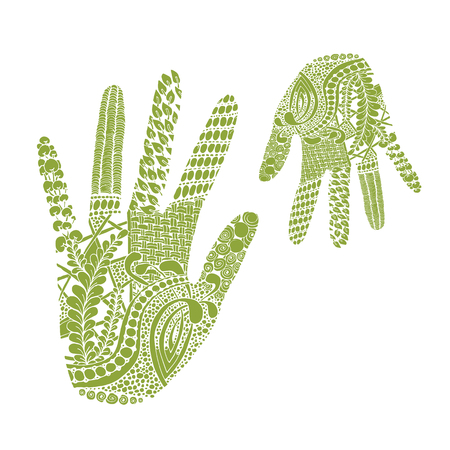 Floral palm, hand drawn zentangle style for our design. Vector illustration