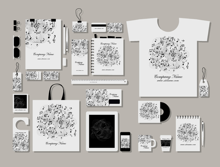 music book: Corporate flat identity mock-up template for your design. Vector illustration