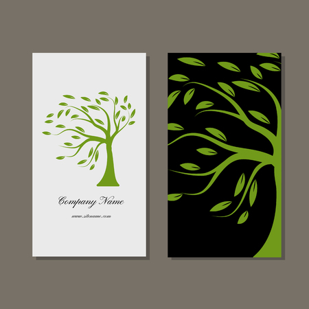 border cartoon: Business card design, green tree. Vector illustration