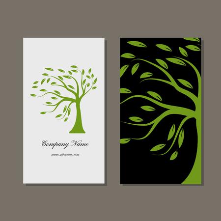 arbres silhouette: conception de cartes d'affaires, arbre vert. Vector illustration