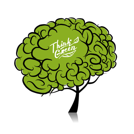 Think green. Brain tree concept for your design. Vector illustration