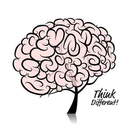invent clever: Think different. Brain tree concept for your design. Vector illustration