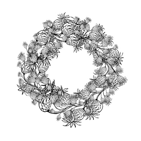 Floral wreath sketch for your design. Vector illustration