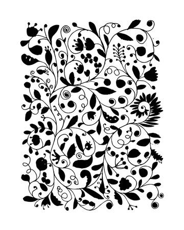 Bloemen patroon, schets voor uw ontwerp. vector illustratie
