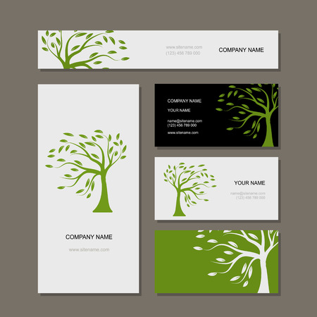 Business cards design green tree vector illustration vector