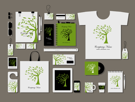 t document: Corporate flat mock-up template, green tree design. Vector illustration Illustration