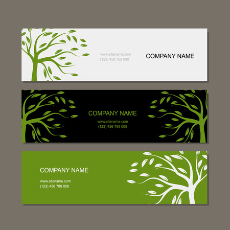 green card: Set of horizontal banners with green tree. Vector illustration Illustration