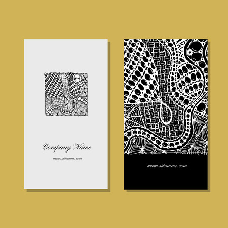 etnic: Business card, zentangle ornament design. Vector illustration Illustration
