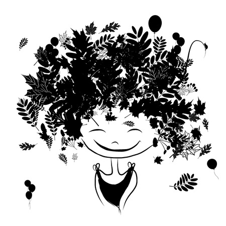 autumn woman: Autumn female portrait, black silhouette for your design. Vector illustration