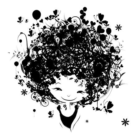 perfil de mujer rostro: Retrato femenino con el peinado floral para su diseño. Ilustración vectorial
