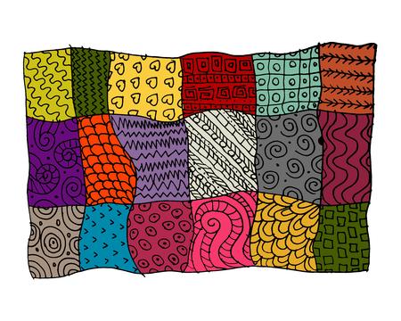 Patchwork tapijt, schets voor uw ontwerp. vector illustratie