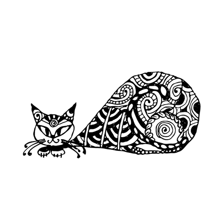 Black cat, zentangle style for your design. Vector illustration