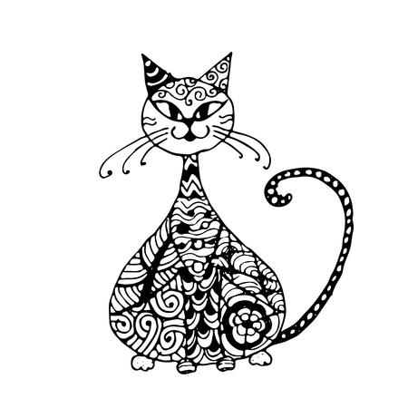 Zwarte kat stijl voor uw ontwerp. vector illustratie