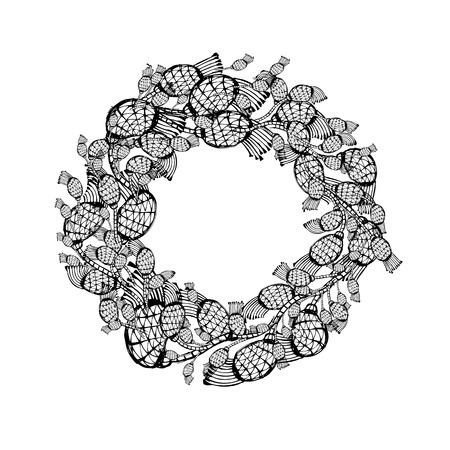 patrones de flores: bosquejo corona de flores para su dise�o. ilustraci�n vectorial Vectores