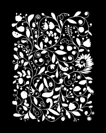 flower white: Floral pattern, sketch for your design. Vector illustration
