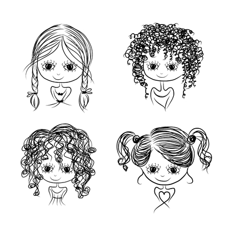 curly: Set of cute girl characters, cartoon for your design, vector illustration