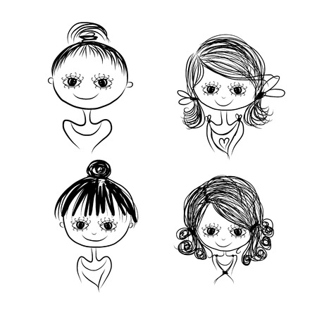 body line: Set of cute girl characters, cartoon for your design, vector illustration