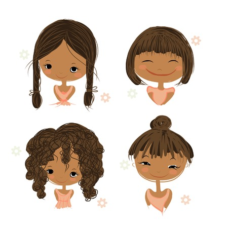 Cute girl souriante, croquis de votre conception, illustration vectorielle