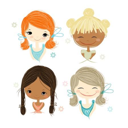 niña: Linda chica sonriente, bosquejo para su diseño, ilustración vectorial