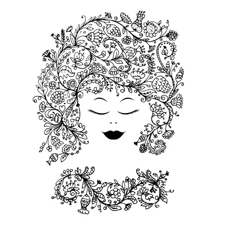 the womanly: Female face with floral hairstyle for your design. Vector illustration
