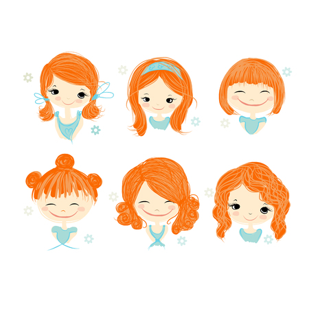 curly hair child: Cute girl smiling, sketch for your design, vector illustration Illustration