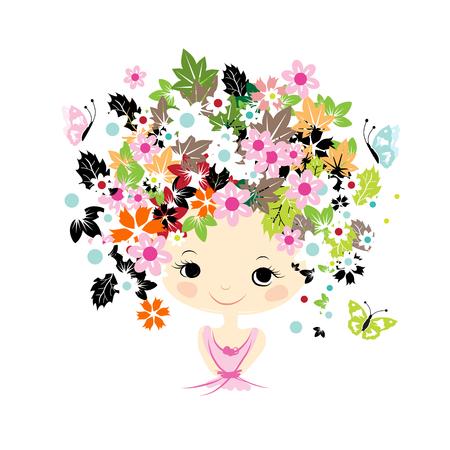 ojos negros: Retrato femenino con el peinado floral para su diseño. Ilustración vectorial