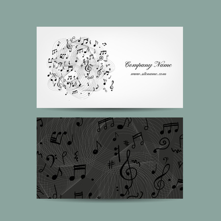 business card design: Business card with music design. Vector illustration