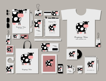bull pen: Corporate flat identity mock-up template for your design. Vector illustration