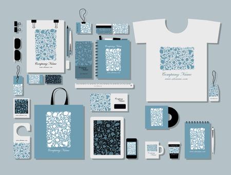 blue design: Corporate flat mock-up template, floral design. Vector illustration