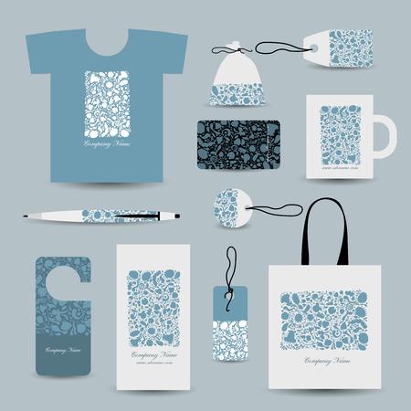 white paper bag: Corporate business cards, floral design. Vector illustration