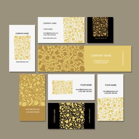 ビジネス カード コレクション、花柄のデザインです。ベクトル図  イラスト・ベクター素材