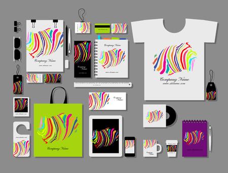 Corporate flat mock-up template, colorful zebra print design. Vector illustration