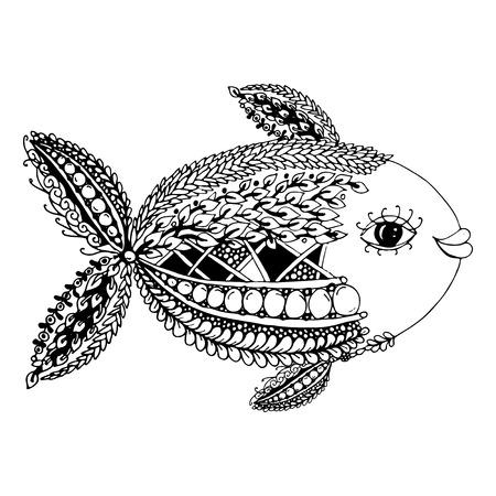 pescado adornado, estilo del zentangle para su diseño. ilustración vectorial Ilustración de vector