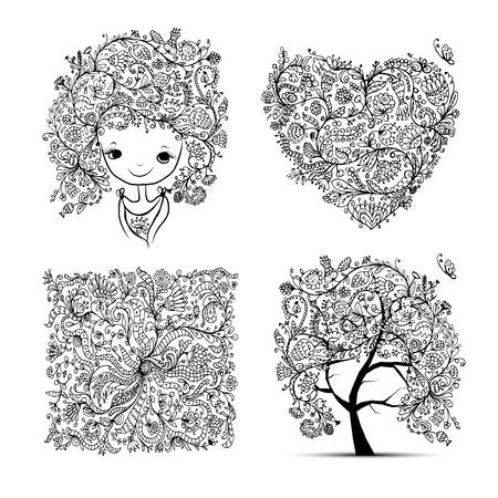 feminity: Floral set - tree, girl, heart, frame for your design. Vector illustration