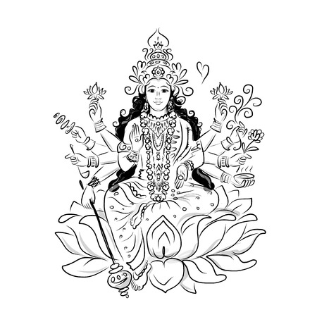 Indian goddess Shakti, sketch for your design. Vector illustration