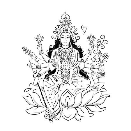Indian goddess Shakti, sketch for your design. Vector illustration