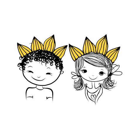 Prins en prinses met kroon op het hoofd voor uw ontwerp, vector illustratie