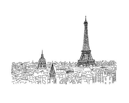 eifel tower: Paris,cityscape with Eifel Tower. Sketch for your design Illustration