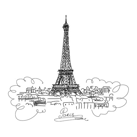 Paris,cityscape with Eifel Tower. Sketch for your design