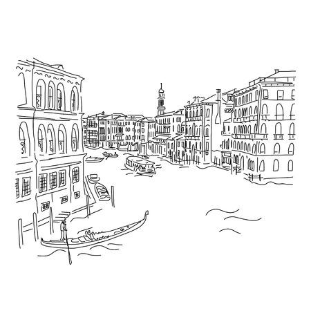 Venecia, Gran Canal. Boceto de su diseño. ilustración vectorial