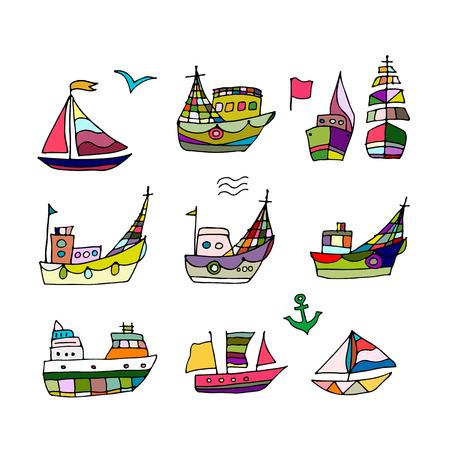 barca da pesca: Set di navi, schizzo per la progettazione. illustrazione di vettore