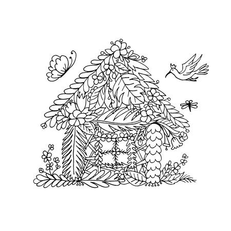 Tropical house, sketch for your design. Vector illustration