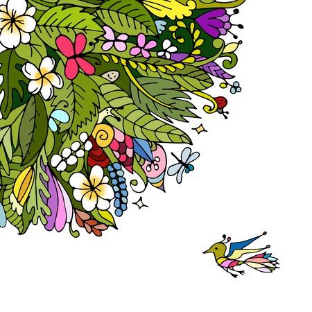 marcos redondos: Marco floral tropical para su diseño. ilustración vectorial
