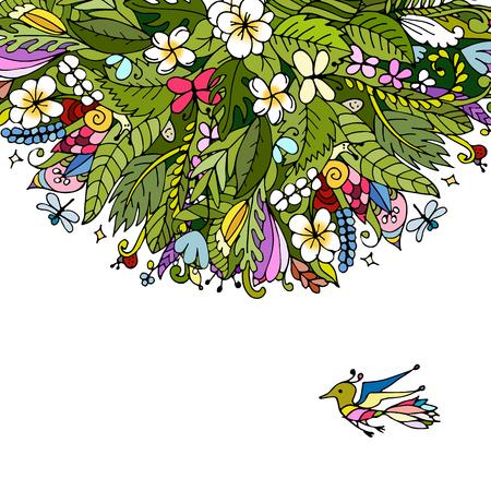 dessin fleur: floral frame Tropical pour votre conception. Vector illustration Illustration